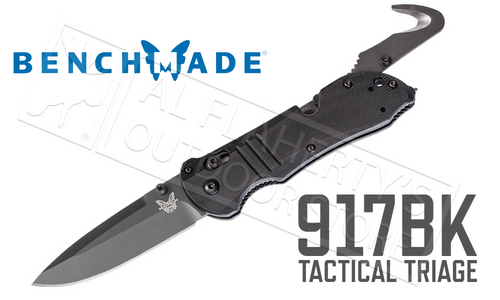 BENCHMADE TACTICAL TRIAGE FOLDING KNIFE WITH EMERGENCY TOOLS #917BK