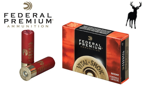 "Federal Premium Vital Shok Magnum Buckshot Shells 12 Gauge 3"" 4-Buck, Box of 5 #P1584B"