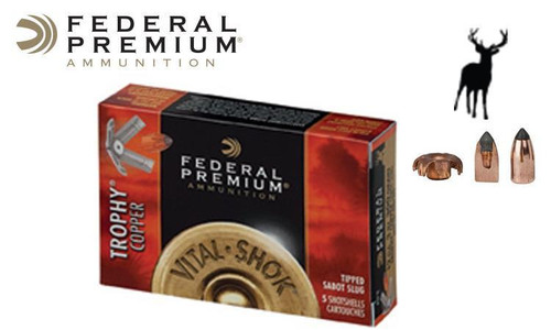 "Federal Vital Shok Trophy Copper Sabot Slugs 12 Gauge 2-3/4"", Box of 5 #P152TC"
