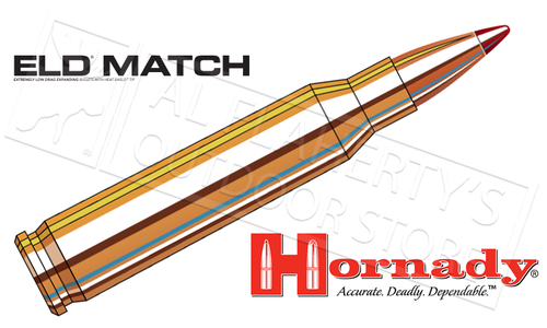 Hornady 308 Win ELD Match, Polymer Tipped 168 Grain Box of 20 #80966
