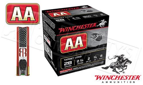 "28 GAUGE - WINCHESTER AA SHOTSHELLS, 2-3/4"" #8 SHOT"
