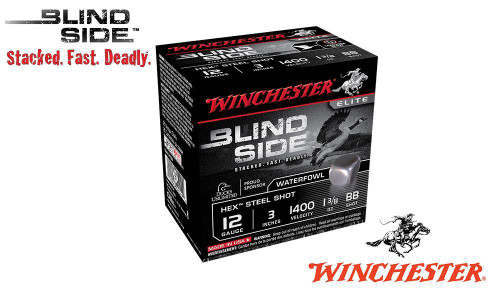 "WINCHESTER ELITE BLIND SIDE WATERFOWL SHELLS, 3"" #BB, 1, 2, 3, 5, SHOT, 1-3/8 OZ., 1400 FPS, BOX OF 25"