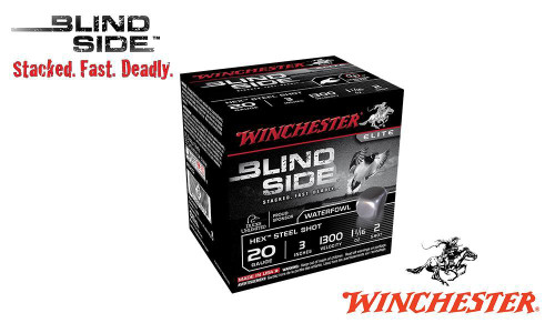 "WINCHESTER ELITE BLIND SIDE WATERFOWL SHELLS, 3"" #2, 5 SHOT, 1-1/16 OZ., 1300 FPS, BOX OF 25"
