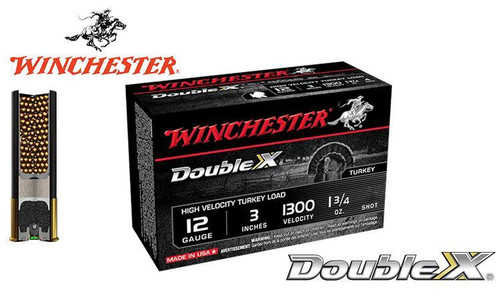 "WINCHESTER DOUBLE X HIGH VELOCITY TURKEY SHELLS, 3"", 1-3/4 OZ. #4, 5, 6 SHOT, 1300 FPS, BOX OF 10"