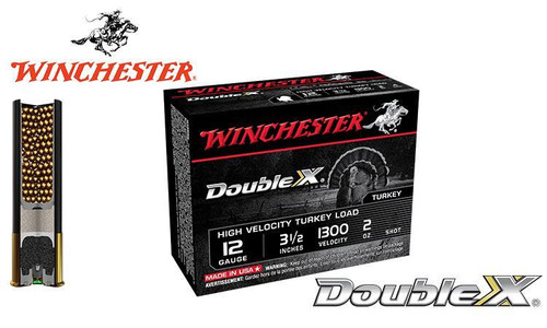 "WINCHESTER DOUBLE X HIGH VELOCITY TURKEY SHELLS, 3.5"", 2 OZ. #4, 5, 6 SHOT, 1300 FPS, BOX OF 10"