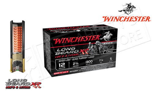 "WINCHESTER ELITE LONG BEARD XR TURKEY SHELLS, 2-3/4"" 1-1/4 OZ. #5 SHOT, 1300 FPS, BOX OF 10"
