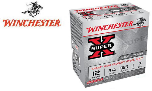 "WINCHESTER SUPER X XPERT HIGH VELOCITY WATERFOWL SHELLS, 2-3/4"" #6 OR 7 SHOT, 1 OZ., 1325 FPS, BOX OF 25"