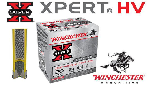 "WINCHESTER SUPER-X XPERT HV SHELLS, 2-3/4"" #6 OR #7-1/2 STEEL SHOT, BOXES OF 25"