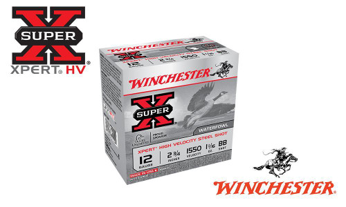 "WINCHESTER SUPER-X XPERT HIGH VELOCITY WATERFOWL SHELLS, 2-3/4"" #BB, 2, 3, OR 4 SHOT, 1-1/16 OZ., 1550 FPS, BOX OF 25"