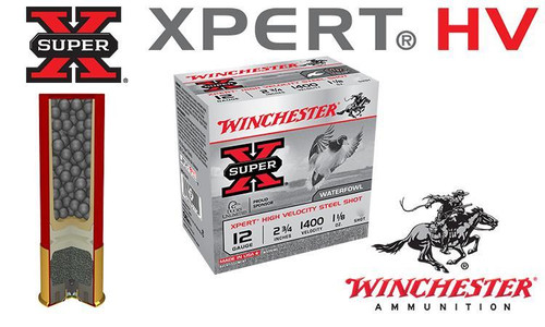 """WINCHESTER SUPER-X XPERT HV SHELLS, 2-3/4"""" #2 TO #4 STEEL SHOT, BOXES OF 25"""