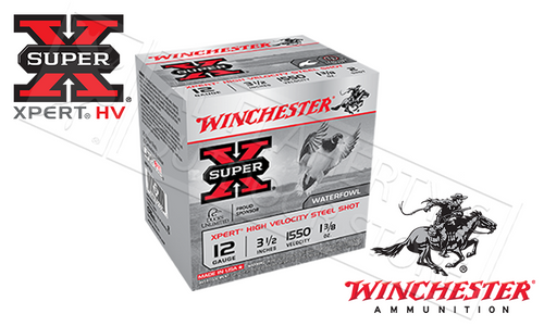 """WINCHESTER SUPER-X XPERT HIGH VELOCITY WATERFOWL SHELLS, 3-1/2"""" #2 OR #BB SHOT, 1-3/8 OZ. 1550FPS, BOX OF 25"""
