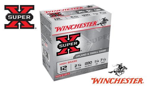 "WINCHESTER SUPER X HIGH BRASS UPLAND SHELLS, #4, 5, 6, 7-1/2 SHOT, 2-3/4"", 1-1/4 OZ., 1330 FPS, BOX OF 25"