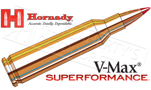 Hornady 22-250 Rem Superformance, V-Max 50 Grain Box of 20 #83366