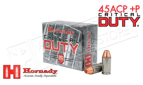 Hornady 45ACP +P Critical Duty, FlexLock JHP 220 Grain Box of 20 #90926
