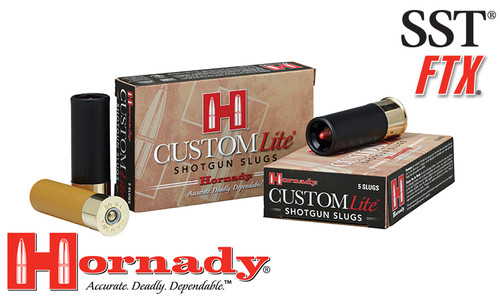 "Hornady Custom Lite FTX Sabot Slugs 12 Gauge 2-3/4"" Box of 5 #86230"