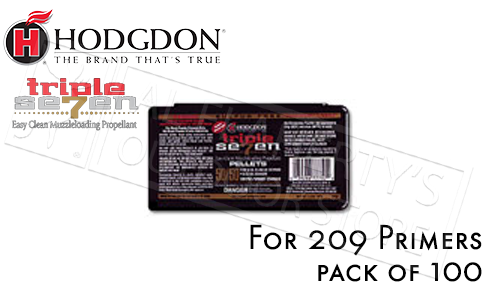 Hodgdon Triple Seven 50/50 Pre-Formed Pellets, Pack of 100 for 209 Primers #T75050
