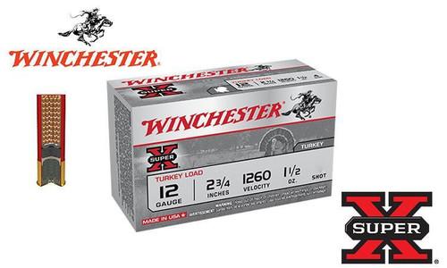 "WINCHESTER SUPER X TURKEY SHELLS, 12 Gauge 2-3/4"", 1.5 OZ. #4 OR 5 SHOT, 1260 FPS, BOX OF 10"