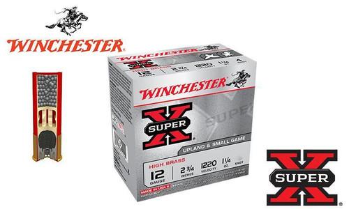 """WINCHESTER SUPER X UPLAND SHELLS, 12 GAUGE -2-3/4"""", 1-1/4 OZ. #4 OR 5 SHOT, 1220 FPS, BOX OF 25"""