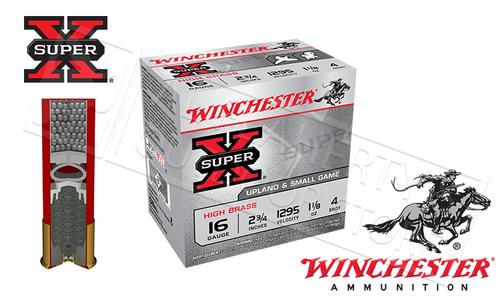 "WINCHESTER SUPER-X UPLAND HIGH BRASS SHELLS, 16 GAUGE - 2-3/4"" #4 #6 OR #7-1/2 SHOT, BOX OF 25"