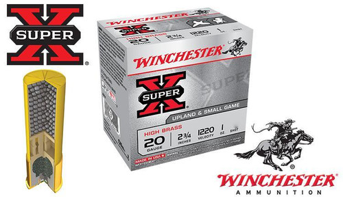 """WINCHESTER SUPER-X UPLAND SHELLS, 20 GAUGE -2-3/4"""" #4 TO #7-1/2 SHOT, BOXES"""