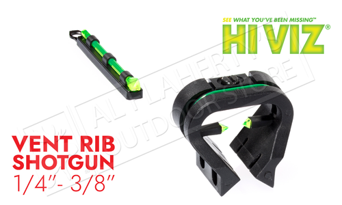 HiViz Shotgun TriViz Shotgun Front and Rear Fiber Optic Sight Set for Vent Rib Shotguns #TT1001