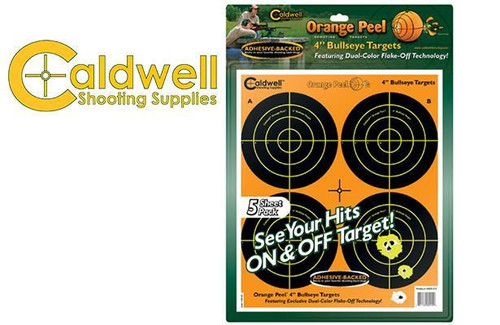"""CALDWELL ORANGE PEEL BULLSEYE 4"""" TARGET PACK OF 5 #405515"""