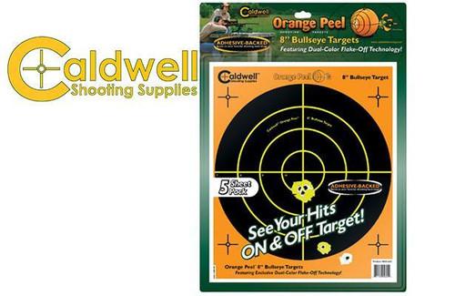 """CALDWELL ORANGE PEEL BULLSEYE 8"""" TARGET PACK OF 5 #805645"""