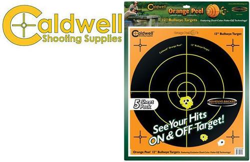 """CALDWELL ORANGE PEEL BULLSEYE 12"""" TARGET PACK OF 5 #120556"""