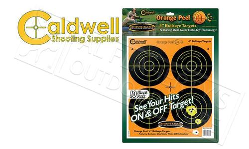 """CALDWELL ORANGE PEEL BULLSEYE 4"""" TARGET PACK OF 10 #410864"""