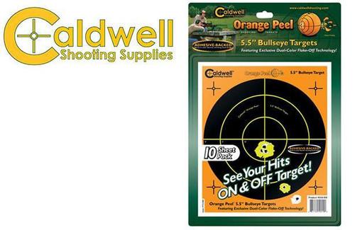 """CALDWELL ORANGE PEEL BULLSEYE 5.5"""" TARGET PACK OF 10 #550010"""