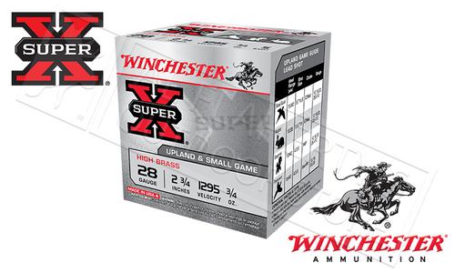 """WINCHESTER SUPER-X HIGH BRASS UPLAND SHELLS, 28 GAUGE -2-3/4"""", #6 3/4 OZ. 1295FPS, BOX OF 25"""