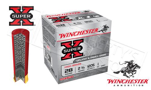 "WINCHESTER SUPER X UPLAND HIGH BRASS SHELLS, 28 GAUGE -2-3/4"" #6 OR #7-1/2 SHOT, BOX OF 25"