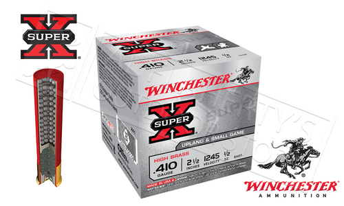 "WINCHESTER SUPER X UPLAND & SMALL GAME SHELLS, .410 GAUGE -2-1/2"" #4 #6 OR #7-1/2 SHOT, BOX OF 25"
