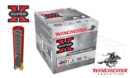 "WINCHESTER SUPER X UPLAND & SMALL GAME SHELLS, .410 GAUGE -3"" #4 #6 OR #7-1/2 SHOT, BOX OF 25"