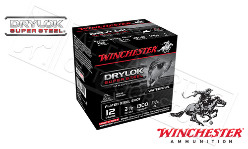 "WINCHESTER DRYLOK SUPER STEEL WATERFOWL SHELLS, 12 GAUGE -3-1/2"", #1 #2 OR #BB 1-9/16 OZ. 1300FPS, BOX OF 25"