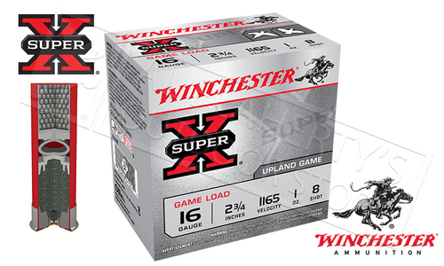 "WINCHESTER SUPER-X UPLAND GAME SHELLS, 16 GAUGE -2-3/4"" #8 SHOT, BOX OF 25"