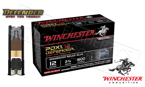 "Winchester PDX1 Defender Shells 12 Gauge 2-3/4"" Segmented Slugs, Box of 10"