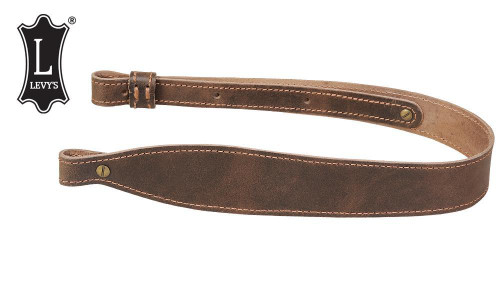 """Levy's Leathers Distressed Leather Cobra Rifle Sling, 28"""" - 37"""" Dark Brown #SS21D-DBR"""