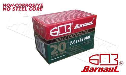 Barnaul 7.62x39 FMJ, 123 Grain, Case of 500 Rounds or 1000 Rounds $379.00