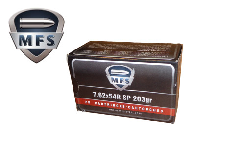 MFS/Barnaul 7.62x54r SP Non-Corrosive, 203 Grain Box of 20 Rounds