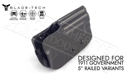 """Blade-Tech Holster Classic OWB for 1911 5"""" Railed Pistols with TekLok and ASR #HOLX000000825920129"""