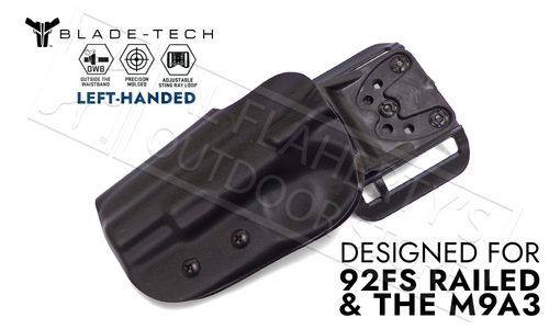 Blade-Tech Original Holster for Beretta 92FS Railed and M9A3, Left-Handed D/OS with ASR Mount #HOLX000839143042