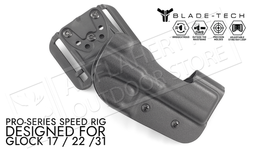 Blade-Tech Original Pro-Series Speed Rig Holster for Glock Models 17 22 and 31, Right-Handed D/OS with ASR Mount #HOLX001349207899
