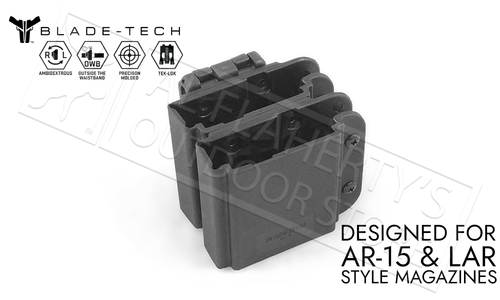 Blade-Tech Signature Double Mag Pouch for AR15 with TEKLOK #AMMX0074AR15DBTLMVBLKRH