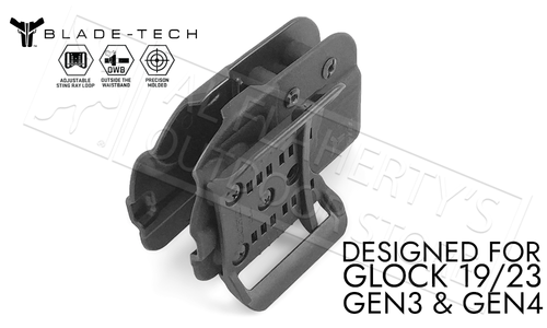 Blade-Tech Signature OWB Holster with ASR for Glock 19 and 23 Gen 3 or 4 Pistols #HOLX0008SGL1923ASBLKRH