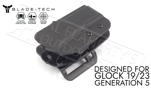 Blade-Tech Signature OWB Holster with ASR for Glock 19 and 23 Gen 5 Pistols #HOLX0008SG195ASBLKRH