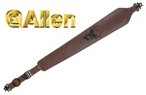 Allen Cobra Padded Tanned Leather Rifle Sling with Swivels #8145