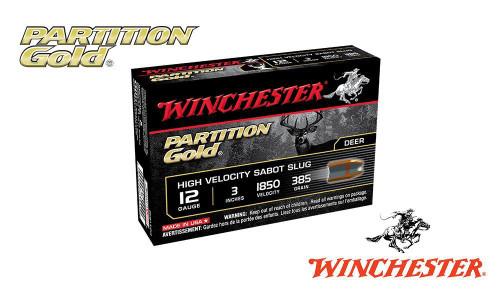 "Winchester Partition Gold Sabot Slugs 12 Gauge 3"", 385 Grain, 1850 fps, Box of 5"