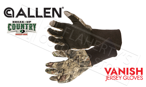 Allen Vanish Jersey Hunt Gloves in Mossy Oak-Break Up Country Camo #25343