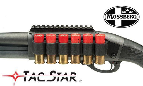 TACSTAR SHOTGUN SIDESADDLE RAIL MOUNT WITH INTEGRATED 6-SHELL HOLDER, MOSSBERG MODELS #1081029